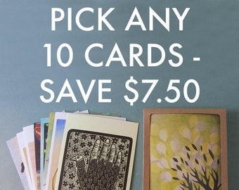 PICK ANY 10 NOTECARDS // 5 x 7 blank recycled cards - boxed stationery set - illustration cards - greeting card set - nature cards