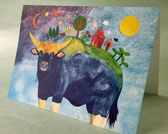 2 CARDS - A047 On the Gayal's Back / 5 x 7 Notecards / new beginnings / abundance / ox / animal card / cosmic card / collage card / papercut