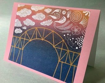 2 CARDS - A046 Premonition of Tomorrow / 5 x 7 Notecards / new beginnings / travel card / linocut card / bon voyage card / sunset card