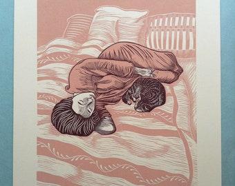 "11 x 14 Linocut Print ""Serenity"" // cat / sleep / nap / reclining woman / bedroom / pink / pets / linoprint / relief print / block print"