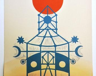 "12 x 16 Linocut Print ""Sanctuary"" // mystical art / celestial art / sun moon stars / architecture print / sacred / temple / blue / red"