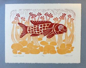 "11 x 14 Linocut Print ""Scarlet Swimmer"" // fish art / nature art / seaweed / rocks / scarlet / red / block print / linoprint / relief print"