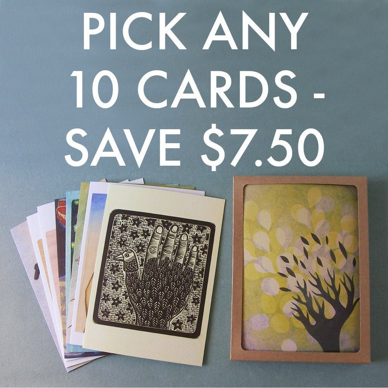 PICK ANY 10 NOTECARDS // 5 x 7 blank recycled cards  boxed image 0