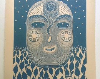 "11 x 14 Linocut Print ""Wisdom Mask"" // portrait / face / snail shell / snake / stars / cornflower blue / linoprint / relief print / block"