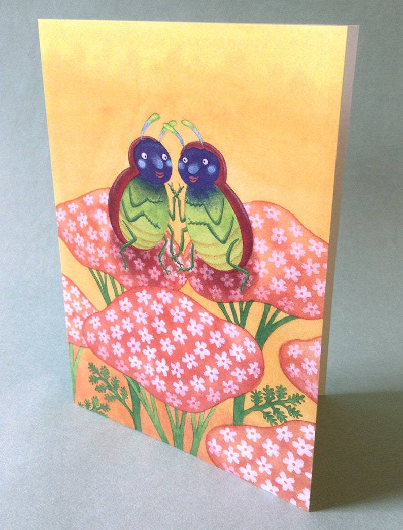 2 CARDS  A041 LOVEBUGS  5 x 7 Notecards // valentine's image 0