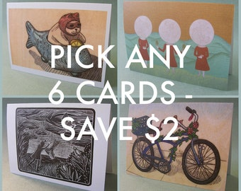 PICK ANY 6 NOTECARDS // 5 x 7 blank notecards - art note cards - illustration card - card set - greeting card set - nature cards