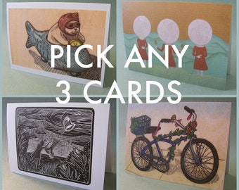 PICK ANY 3 NOTECARDS // 5 x 7 blank notecards - illustration card - card set - greeting cards set - assorted greeting cards - recycled