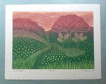 """11 x 14 Linocut Print """"Secret Path III"""" // landscape art print / nature art / tree /path art print / trail / block print / linoprint"""