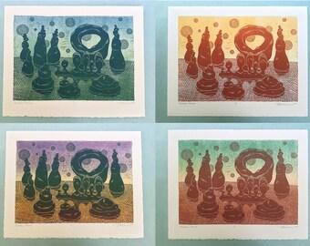 """ONE-OF-A-KIND 11 x 14 Linocut Print """"Thirteen Moons"""" // alien landscape / nature art / unique print / linoprint / relief print / monoprint"""