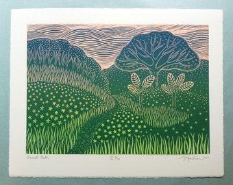 "11 x 14 Linocut Print ""Secret Path II"" // landscape art print / nature art / tree / path / pathway / trail / block print / relief print"
