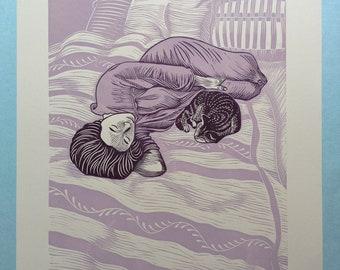 "11 x 14 Linocut Print ""Serenity II"" // cat / sleep / nap / lavender / purple / wall decor / companion / pets / linoprint / relief print /"