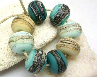 Secret Beach Organic Rounds - Handmade Glass Lampwork Beads