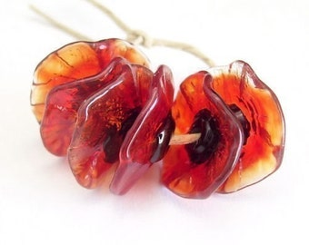 Handmade Lampwork Glass Beads - Poppy Fairy Flowers floral disk flower beads