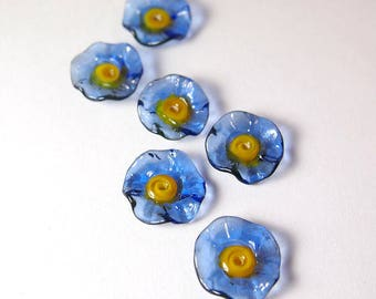 Handmade Lampwork Glass flower beads - Fairy Flowers floral discs - Forget Me Not