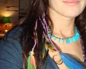 FLIGHTY feather ear cuff no-pierce unique Native American exotic earring 4 strand PURPLE