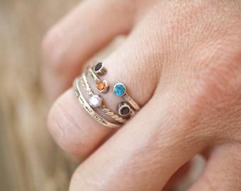 Horseshoe Gemstone Rings, antiqued sterling u shaped dual birthstone double stacking ring personalized  gemstone push gift