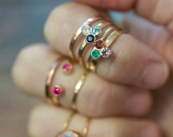 Solid Gold Honeycomb Ring, precious gemstone 14k gold birthstone tri gem 3 stone stacking ring triangle modern trending mommy jewelry mom