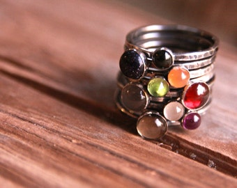 Large Gemstone Stackers, antiqued sterling hammered gemstone stacking rings cabochon 6mm rustic thin band birthstone modern mama jewelry