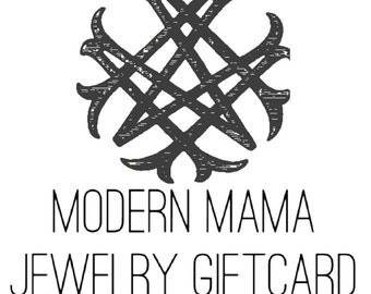 Modern Mama Jewelry Gift Certificate 200 dollars, handmade personalized hand stamped artisan sterling silver gold custom jewelry mom mother