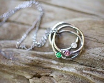 Baby Rings Birthstone Necklace, handmade gemstone pendant eternity circle personalized custom mommy necklace for mom