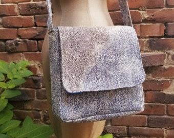 Blue and Gray Mandala Henna Yoga Mini Messenger Bag Purse Satchel College Professional