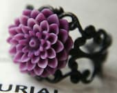 Gothic Flower Ring, Lilac and Purple Mini Pom-Pom Mum, Fashion In Bloom by Jenifersfamilyjewels on Etsy