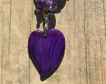 Purple Bracelet Converts To Necklace Handmade Jewelry With Blown Glass Beads CarolsGlassCreations Made in USA