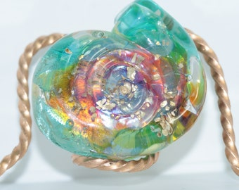Handmade Lampwork Cabochon Ammonite Shaped Silver Glass Bead with Gold Sparkles CarolsGlassCreations SRA One of a Kind Made in USA