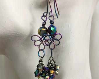 Celtic Knot Hypoallergenic Colorful Niobium Earrings CarolsGlassCreations Handmade in USA OOAK