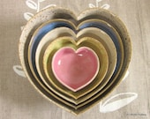 home is where the heart is ... nesting ceramic heart bowls - multi colored - 5 inches - MADE TO ORDER