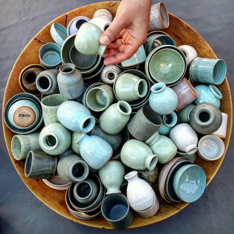 3 handmade miniature pots. GRAB BAG artist's choice  image 0