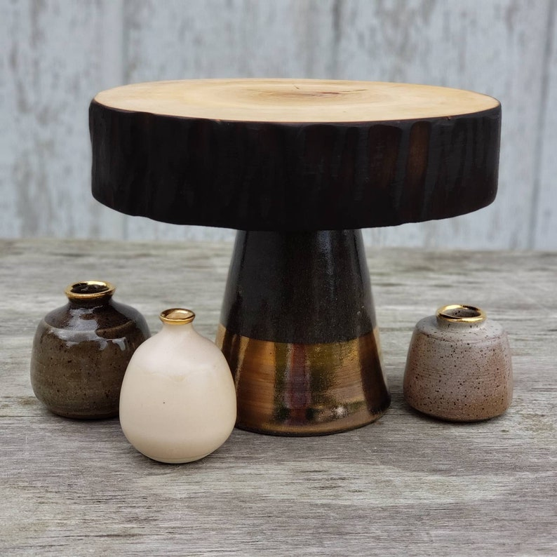 ceramic cake stand and kiln dried wooden top with charred image 0