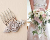 Bridal Hair Pins, Small Bridal Comb Art Deco, Crystal Headpiece Wedding Hair Accessories, flower leaf cubic zirconia hair piece Rose Gold