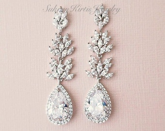 Bridal Earrings Crystal Wedding Earrings Swarovski Bridal Jewelry Drop  Earrings Long Chandelier Earrings for Bride KARENA CZ Leaf Dangle 761f79310a0f