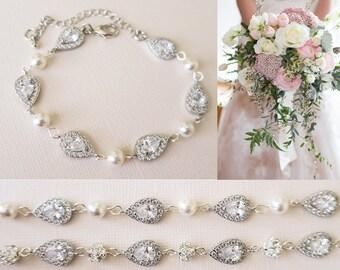 2edd7a068c2bd Crystal Bridal Bracelet Romantic Wedding Jewelry Wedding Bracelet Vintage  Silver Teardrop Diamond with Swarovski Pearls Delicate Swarovski