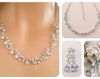 Necklace Earrings Bridal & Wedding Party Jewelry Flower & Pear Drop Crystal Silver Bridal Jewelry Set