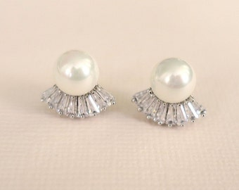 Art Deco Stud Bridal Earrings, Pearl and Diamond Wedding Earrings, Simple Bridal Jewelry, Bridesmaid Earrings