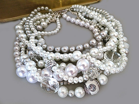 Chunky Pearl /& Crystal Choker Necklace for women Brides Bridesmaids Wedding 26H