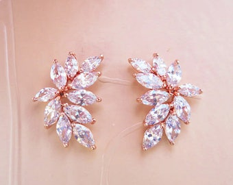 Bridal Earrings Rose Gold Wedding Earrings Studs Marquise leaf shaped Art Deco style simple small elegant crystal studs for a bohemian bride