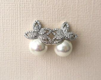 Bridal Earrings Pearl Leaf Wedding Earrings, CZ Pave Glamorous Earrings, BIANCA Wedding Jewelry for Brides, Bridesmaids Earrings