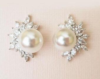 Bridal Earrings Diamond Pearl Wedding Earrings with Celestial Cluster CZ Art Deco Style Bridal Jewelry, CLARA