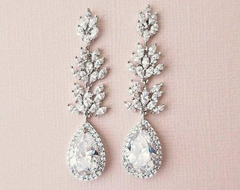 Wedding Earrings for Brides, Long Bridal Earrings Chandelier, Gold Bride Earrings, Nickel Free, Cluster Drop Leaf Earrings, Karena