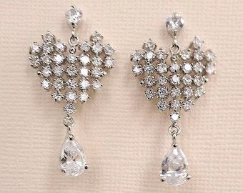 Teardrop Bridal Earrings Cubic Zirconia Heart Wedding Earrings for Brides, Gift
