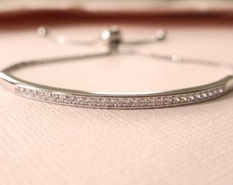 "Thin Silver Bracelet, Cubic Zirconia Tennis Bridal Bracelet, Simple Dainty Wedding Bracelet Adjustable 5"" to 10"""