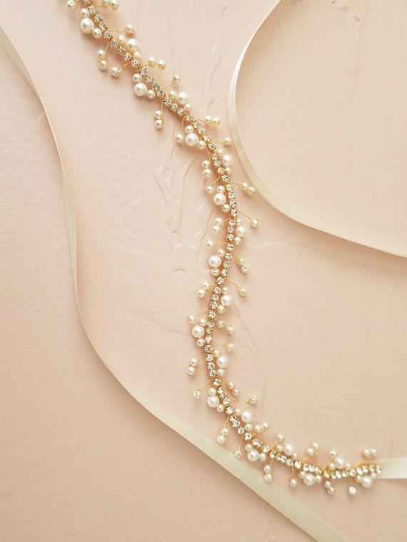 cca0038e95f9 Ceinture de mariée or perle ceinture perlée de strass   Etsy
