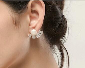 Art Deco Bridal Earrings, Wedding Earrings for Brides Pearl Fan Crystal Earrings