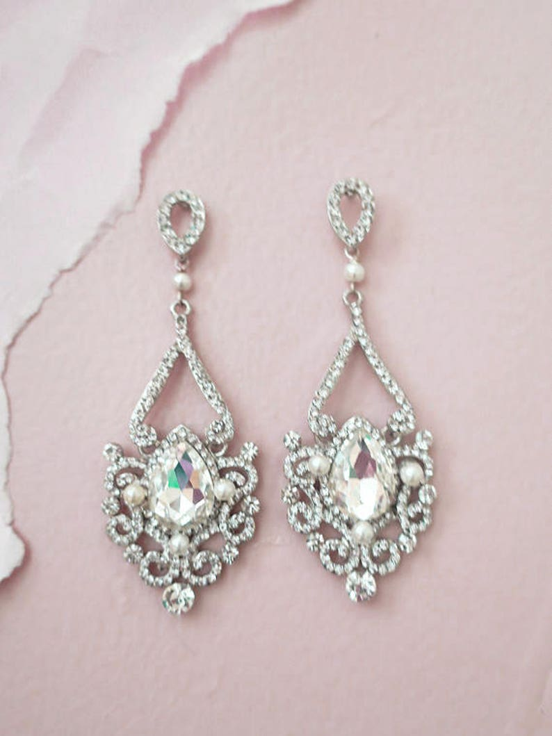 Bridal Earrings Chandelier Wedding Jewelry Art Deco Earrings Old Hollywood Great Gatsby style Rhinestone Victorian Earrings  ADIE