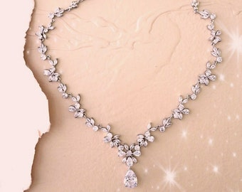 Dainty Crystal Drop Bridal Necklace Wedding Jewelry for Brides with Dangle or Stud Cubic Zirconia Wedding Earrings