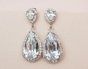 Bridal Earrings Chandelier Wedding Earrings Art Deco, Cubic Zirconia Wedding Jewelry in Old Hollywood style Drop & Dangle for Bridesmaids