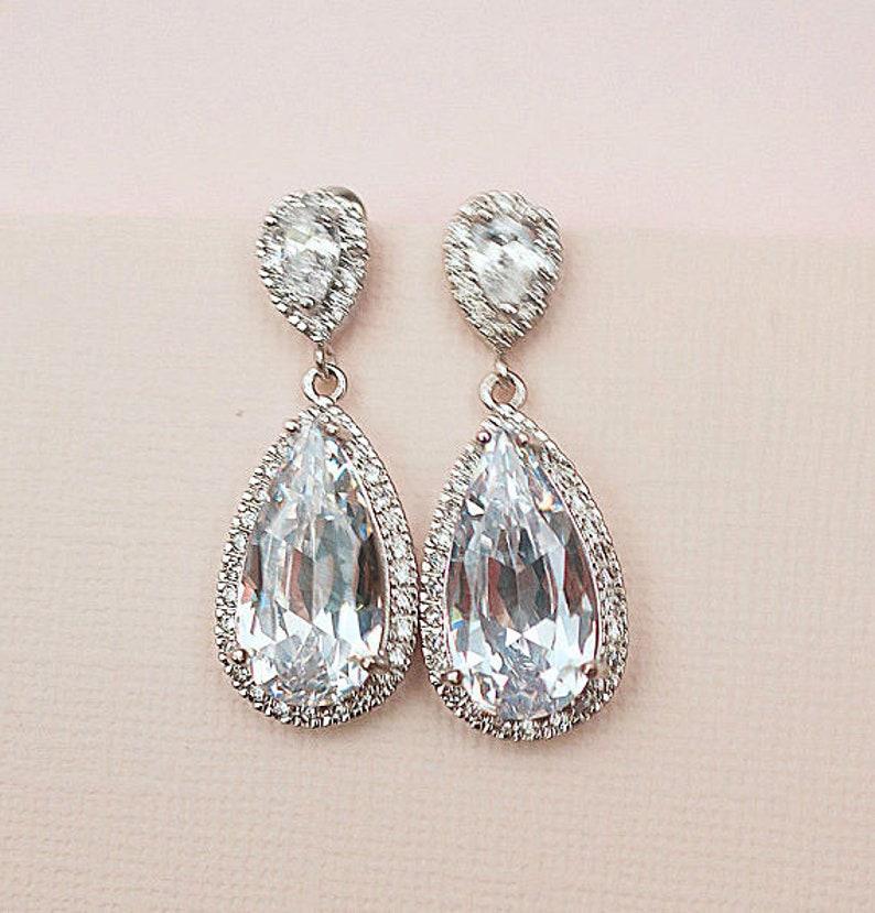 8d674954d Bridal Earrings Chandelier Wedding Earrings Art Deco Cubic | Etsy